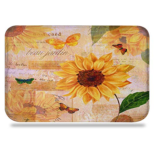 - Colorful Star Sunflowers Design Bathroom Rug Bath Mat Yellow Rugs,Super Absorbent&Stain Resistant&Machine-Washable Made of Flannel,Quick-Dry,Non Slip, Odor Free 24