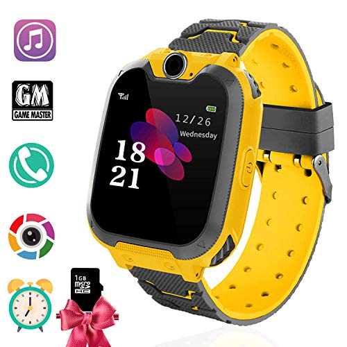 Kids Games Smart Watch Phone for Boys Girls- MP3 Player Music Watch [1GB Micro SD Included] Kids Game Smartwatch 2 Way Call Alarm Clock Games Camera Wrist Watch for Student Toys (Music Yellow)