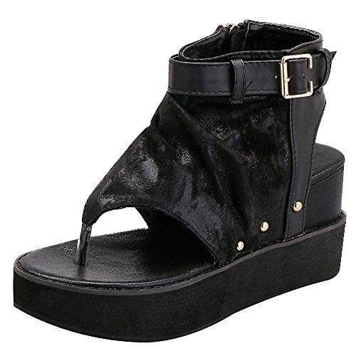 Chaussures Pied De Glissoire Femmes Strappy Plate sangle forme T Sandales Noir Compensé Slingback Rismart Agrafe Talon Doigt Romain 4vaqqH