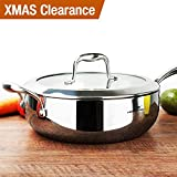HOMI CHEF Mirror Polished NICKELFREE Stainless Steel 5 Quart/ 11 Inch Saute Pan with Glass Lid (No Toxic Non Stick Coating, Whole-Clad 3-Ply) - Stainless Steel Saute Pan 10132