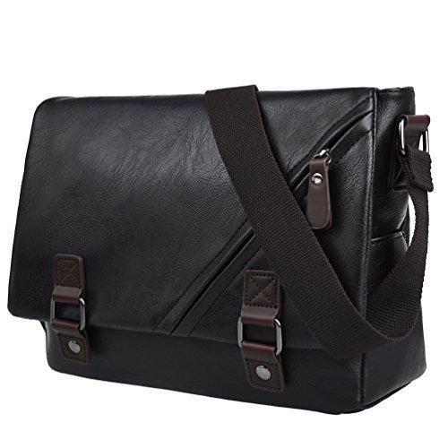 Vbiger Men Shoulder Bag PU Leather Messenger Bag Classic Briefcase Multi-functional Business Bag, Fits 13.3'' Laptop