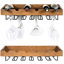 ArtifactDesign Wall Mounted Wood Wine Rack for Bottles with Stemware Glass Storage (2, Walnut Stained)