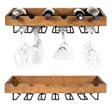 ArtifactDesign Wall Mounted Wood Wine Rack for Bottles with Stemware Glass Storage (2, Walnut Stained) For Sale