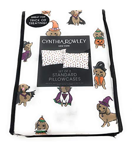 Cynthia Rowley Holloween Dressed Dachshunds, 100% Coton, Set of 2 Standard Pillowcases]()