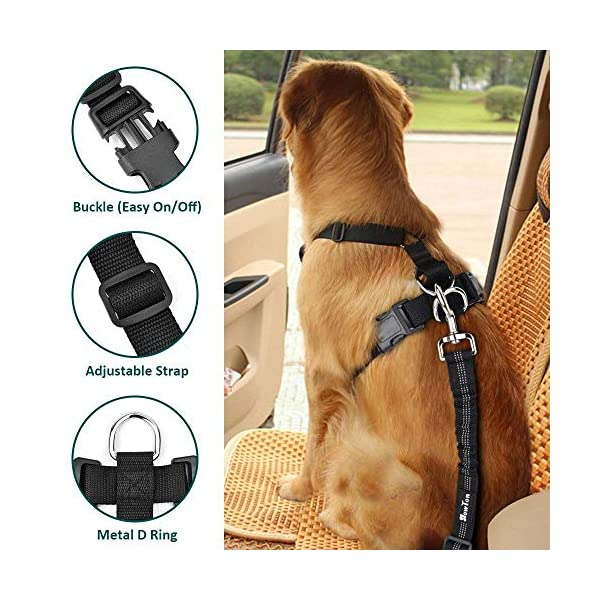 SlowTon Dog Car Harness Seatbelt Set, Pet Vest Harness with Safety Seat Belt for Trip and Daily Use Adjustable Elastic Strap and Multifunction Breathable Fabric Vest in Vehicle for Dogs 2