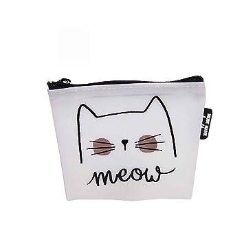 Miaomiaogo Mujeres Niñas Cute gato impreso de dibujos animados monedero monedero de silicona pequeña bolsa de cambio bolsa titular de la clave: Amazon.es: ...