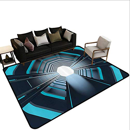 Bedroom Rug Outer Space Decor Tunnel with Neon Lights Passage Mercury Lunar Orbit Inspired Stardust Art Children Crawling Bedroom Rug3'3 x5'3 Blue -