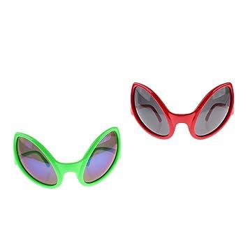ea22bc9c51 Prettyia 2 set Green Red Novelty Alien Sunglasses Kids Adults Funny Party  Eye Glasses Costume