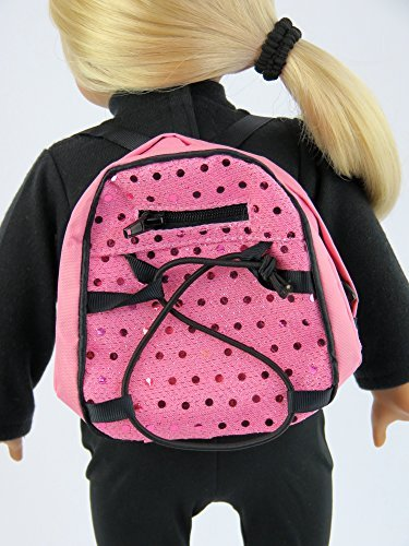 American Fashion World 18 inch pink sequin backpack Made for 18-inch Dolls fits 18-inch American Dolls and more (American Girl Doll Backpack)