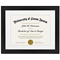 Americanflat 11x14 Document Frame - Made for Documents Sized 8.5x11 Inch with Mat and 11x14 Inch without Mat, Black