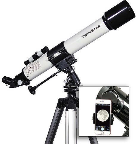 AstroVenture 70mm Refractor Telescope With Universal Smartphone Camera Adapter (White) by Twin Star