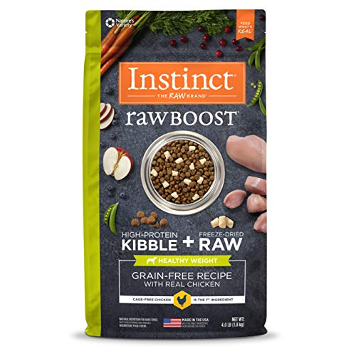 Instinct Raw Boost Healthy Weight Grain Free Recipe with Real Chicken Natural Dry Dog Food by Nature's Variety, 4 lb. Bag