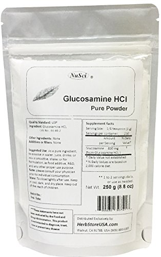 NuSci Pure Glucosamine HCl Powder for Joint Health (250 grams (8.8 ()
