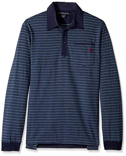 U.S. Polo Assn. Mens Classic Fit Striped Long Sleeve Pique Shirt