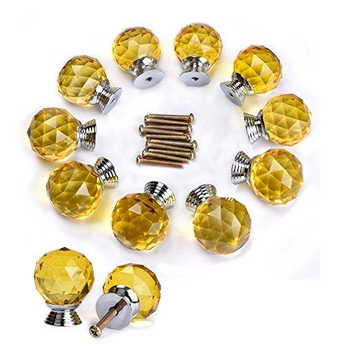 Do4U 10pcs 30mm Crystal Glass Cabinet Knob Drawer Pull Handle Kitchen Door Wardrobe Hardware Used for Cabinet, Drawer, Chest, Bin, Dresser, Cupboard (30mm, Yellow)
