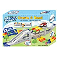Dotopon Magic Bend Tracks Flex Racetrack with 120-Piece Rolling Track and 1 Race Car (120 Track Rails)