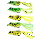 SHINE-CO 5 PCS kit Life Topwater Frog Fishing Lure Bait for Freshwater Saltwater Soft Bait Sets Review