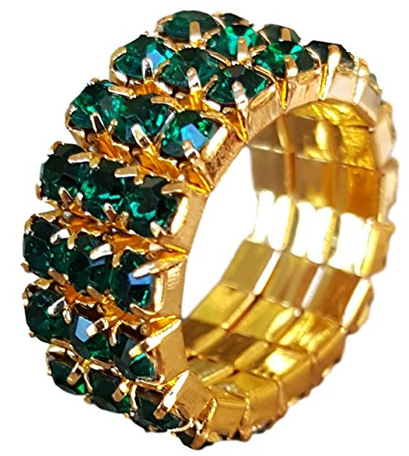 Three Row Multi Stone Adjustable Stretch Scallop Setting Stretch Elastic Cocktail Ring by Pashal (Gold - Dark Green) (Stone Green Cocktail Ring)