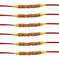 WhopperIndia Set of 6 Rudraksha Design Traditional Rakshabandhan Rakhee Bracelet Color and Design May Vary