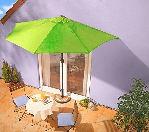 Sonnenschirm leuchtgrün mit Kurbel - halbrund