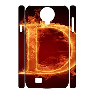 3D Samsung Galaxy S4 Cases Burning Letter D Protective Cute for Girls, Phone Case for Samsung Galaxy S4 M919 Cathyathome, [White]