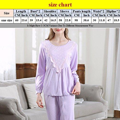 Zhhlaixing Woman Round neck Long Sleeve Nightwear Casual Sleepwear Pyjamas Two Piece Set Rose Red