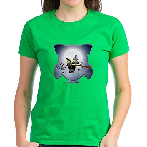 Truly Teague Women's Dark T-Shirt Little Spooky Vampire Owl with Friends - Kelly Green, 2X -