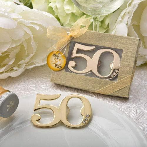 DISOK Lote 20 Abrebotellas de 50 Aniversario en Caja de Regalo. Detalles para Bodas de Oro. Regalos Bodas 50 Aniversario.: Amazon.es: Hogar