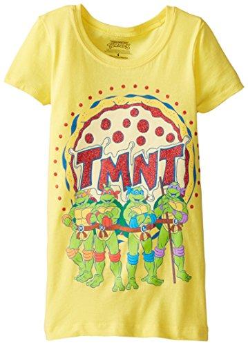 Teenage Mutant Ninja Turtles Little Girls' Pizza T-Shirt Shirt, Yello, 4