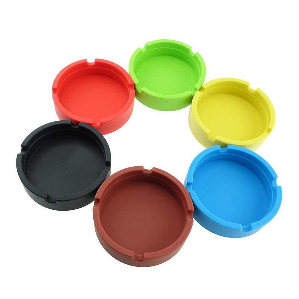 InnoLife - Eco-Friendly Colorfull Premium Silicone Rubber High Temperature Heat Resistant Round Design Ashtray (6 mixed colors)