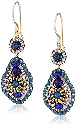 Miguel Ases Blue Quartz and Swarovski Small Tear Drop Earrings