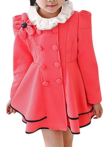 (BPrincess Girls Double Breasted Floral Detail Puff Sleeve Tiered Dress Like Coat, Model1 11)