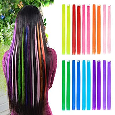 "10pcs Colored Clip in Hair Extensions 22"" Straight Fashion Hairpieces for Party Highlights"