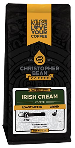 Christopher Bean Coffee Flavored Decaffeinated Ground Coffee, Irish Creme, 12 Ounce (Packaging may vary)