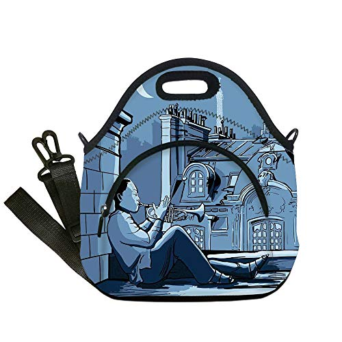 Insulated Lunch Bag,Neoprene Lunch Tote Bags,Jazz Music Decor,Trumpet Player on a Roof In Paris at Night Eiffel Moon Europe Illustration Decor,Black Dark Blue,for Adults and children