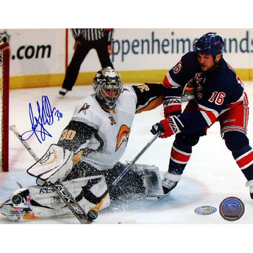NHL Ryan Miller Kick Save Vs Sean Avery Autographed 8-by-10-Inch Photograph ()