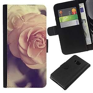KingStore / Leather Etui en cuir / HTC One M7 / Printemps rose vintage Amour