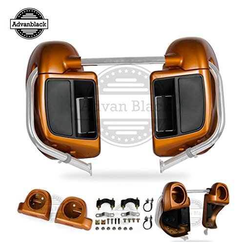 Us Stock Advanblack Amber Whiskey Rushmore Lower Vented Fairings with 6.5 inch Speaker Pods Body Kits Fit for Harley Touring Road Glide Street Glide Electra Glide 2014 2015 2016 2017 2018 2019