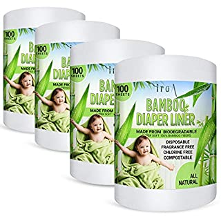 Disposable Cloth Diaper Bamboo Liners – 4 Rolls, Fragrance Free & Chlorine Free, Compostable, Dye Free Flushable Biodegradable Viscose Bamboo Liners for Cloth Diaper 100 Each Sheets for 4 Rolls