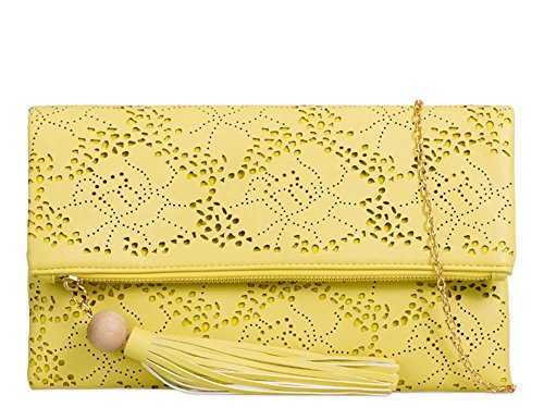 New Folded Flap Chain Strap Laser Cut Pattern Faux Leather Clutch Shoulder Bag Yellow