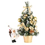 Loveble Miniature Christmas Tree with Hanging Ornaments Tabletop Trees Home or Office Decoration(40cm)