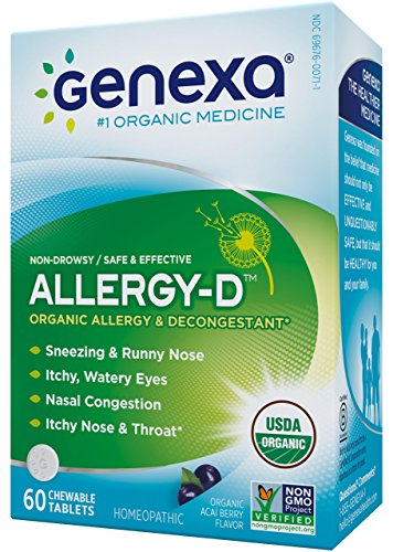 Genexa Homeopathic Allergy Medicine: Certified Organic, Physician Formulated, Natural, Non-Drowsy, Non-GMO Verified Decongestant. Helps Provide Seasonal Allergy Relief (60 Chewable Tablets) - Non Drowsy Decongestants