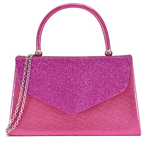 (Dasein Women's Evening Bags Formal Party Clutches Wedding Purses Cocktail Prom Handbags with Frosted Glittering (Hot Pink))