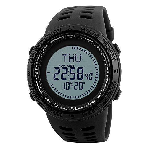 SKMEI Men's Sports Watches, Military Compass World Time Waterproof Outdoor Digital Watch with Luminous Countdown - Cardinal Digital Watch