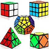 dreampark speed cube set, 5 pack magic cube bundle - 2x2x2 3x3x3 pyramid megaminx skew cube smooth