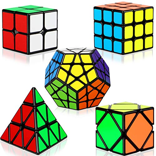 Dreampark Speed Cube Set, 5 Pack Magic Cube Bundle - 2x2x2 3x3x3 Pyramid Megaminx Skew Cube Smooth Sticker Cubes Collection Puzzle Toy for Kids