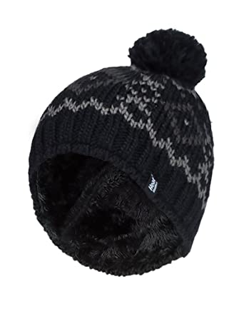 HEAT HOLDERS - Mens Chunky Knit Fleece Lined Thermal Winter Warm Beanie  Bobble Hat with Pom 19c6a0ec063f