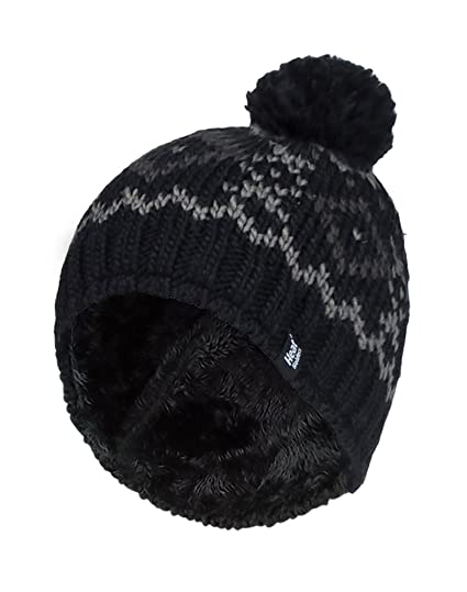 309a67faecf HEAT HOLDERS - Mens Chunky Knit Fleece Lined Thermal Winter Warm Beanie  Bobble Hat with Pom Pom (One Size