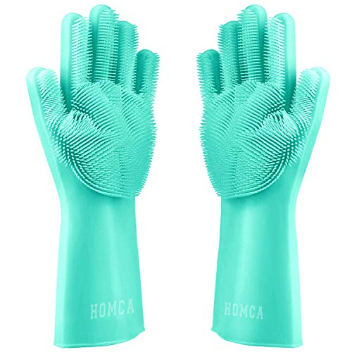(HOMCA Cleaning Scrubber, Magic Saksak Rubber Heat Resistant Reusable Silicone Gloves for Household, Washing, Kitchen (Large,1 Pair,Green))