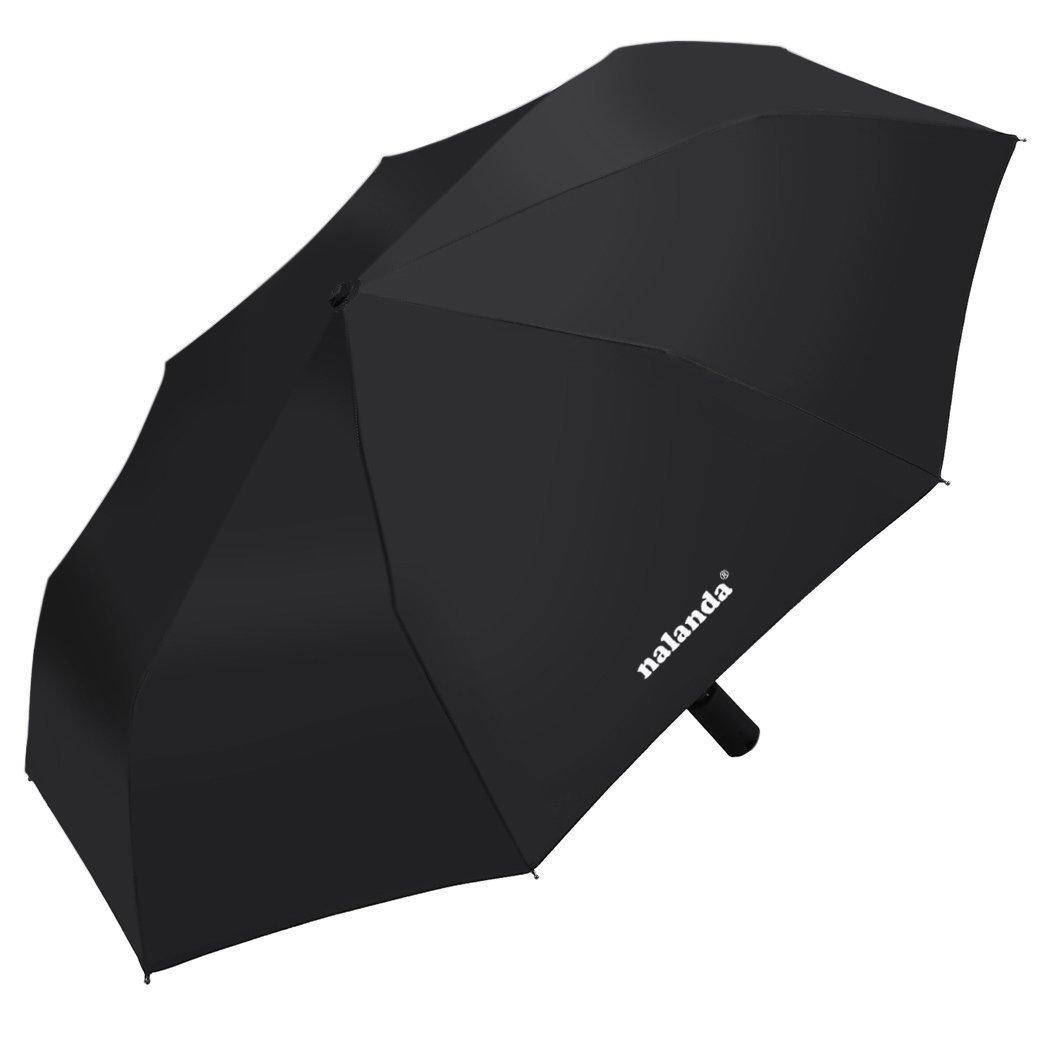 NALANDA Automatic Travel & Golf Folding Umbrella Auto Open and Close Anti UV Fabric with Windproof Frame(Black) by Nalanda
